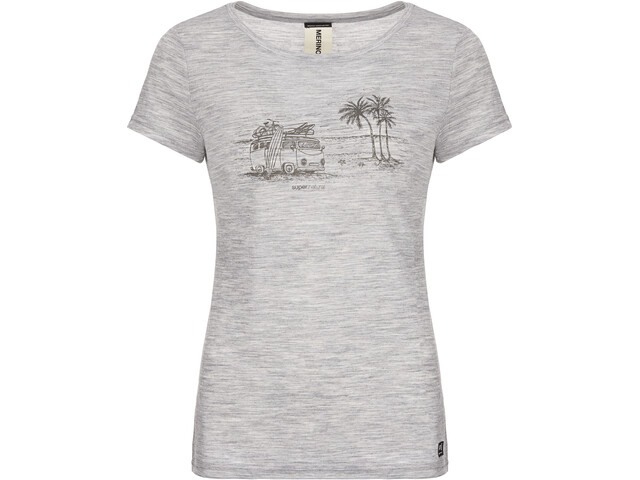 super.natural Print T-Shirt Femme, ash melange/killer khaki beach print